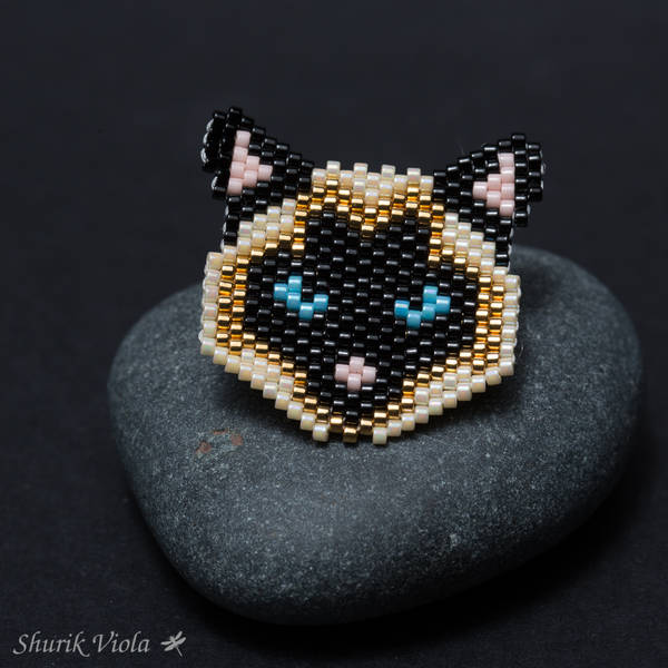 "Brooch ""Siamese cat"" / Broche ""Chat siamois"" - Shurik Viola"