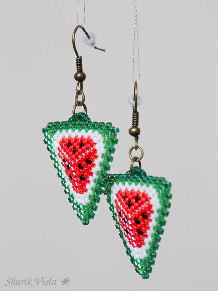 "Seed bead earrings ""Watermelon"" / Boucles d'oreilles en perles de rocaille ""Pastèque"" - Shurik Viola"