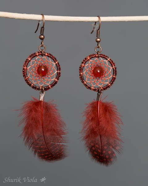 Earrings dreamcatchers / Boucles d'oreilles en forme d'attrape rêves - Shurik Viola