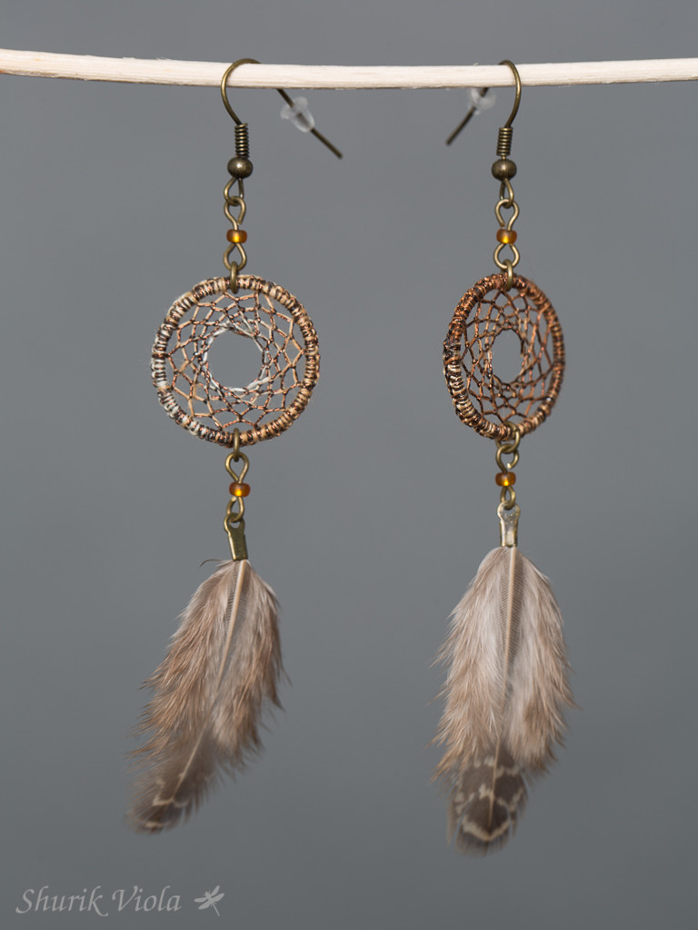Earrings dreamcatcher / Boucles d'oreilles en forme d'attrape rêves - Shurik Viola